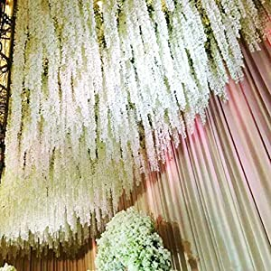 Lannu 5 Pack 13 FT Artificial Hydrangea Flower Vine Wisteria Garland Vines Cattleya Flowers Plants for Home Wedding Party Decor, Cream 3