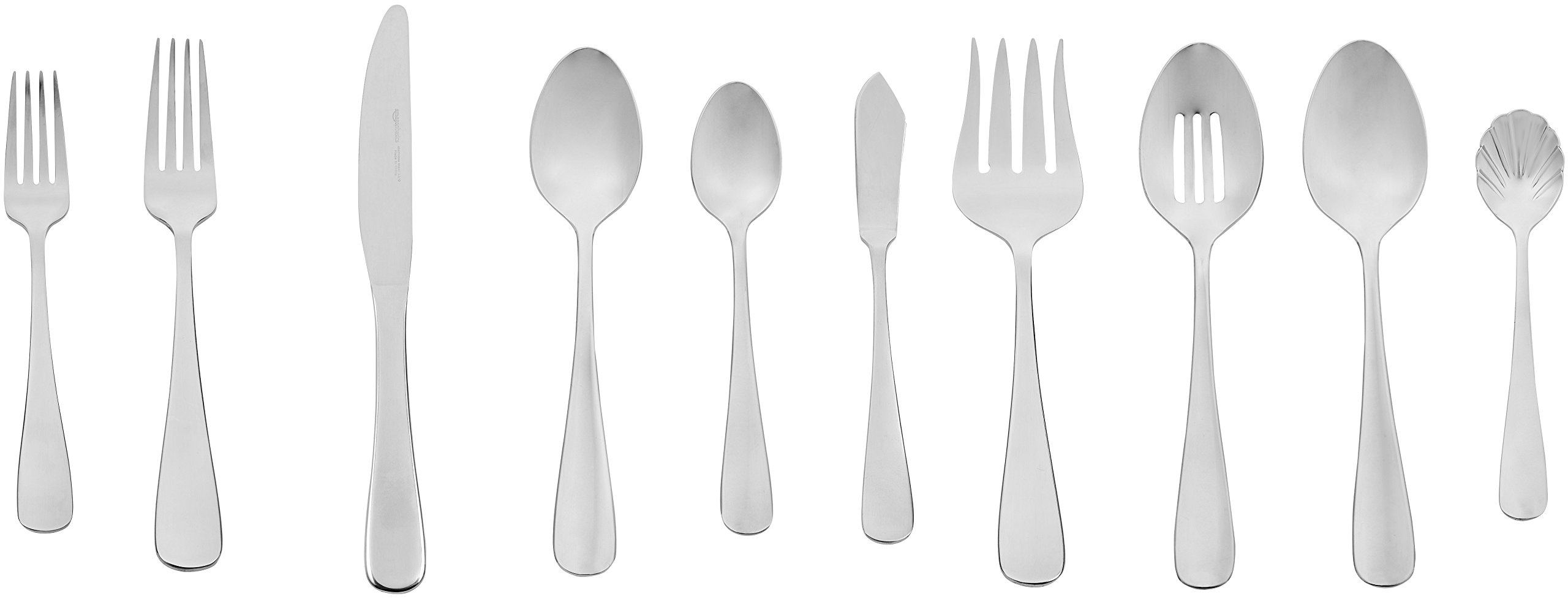 AmazonBasics 65-Piece Stainless Steel Flatware Set with Round Edge, Service for 12