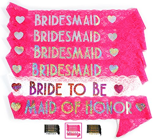 Bride & Bridesmaid 6pc Lace Sash Set - Stunning Party Favors for Bachelorette Party, Bridal Shower & Wedding Party (Pink & - Raybans Cheapest