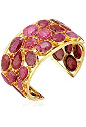 Devon Leigh Faceted Ruby Gold Tone Cuff, 2.5""