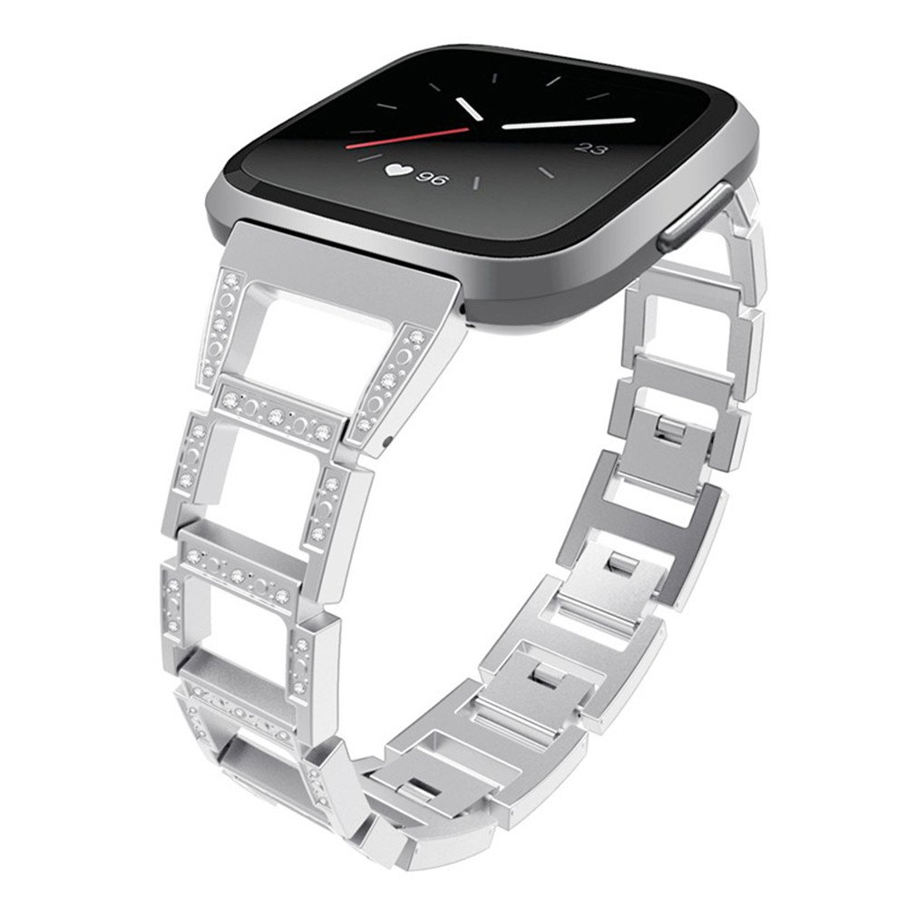 YJYdada Luxury Woven Fabric Replacement Accessories Wristband Straps For Fitbit Versa (silver)