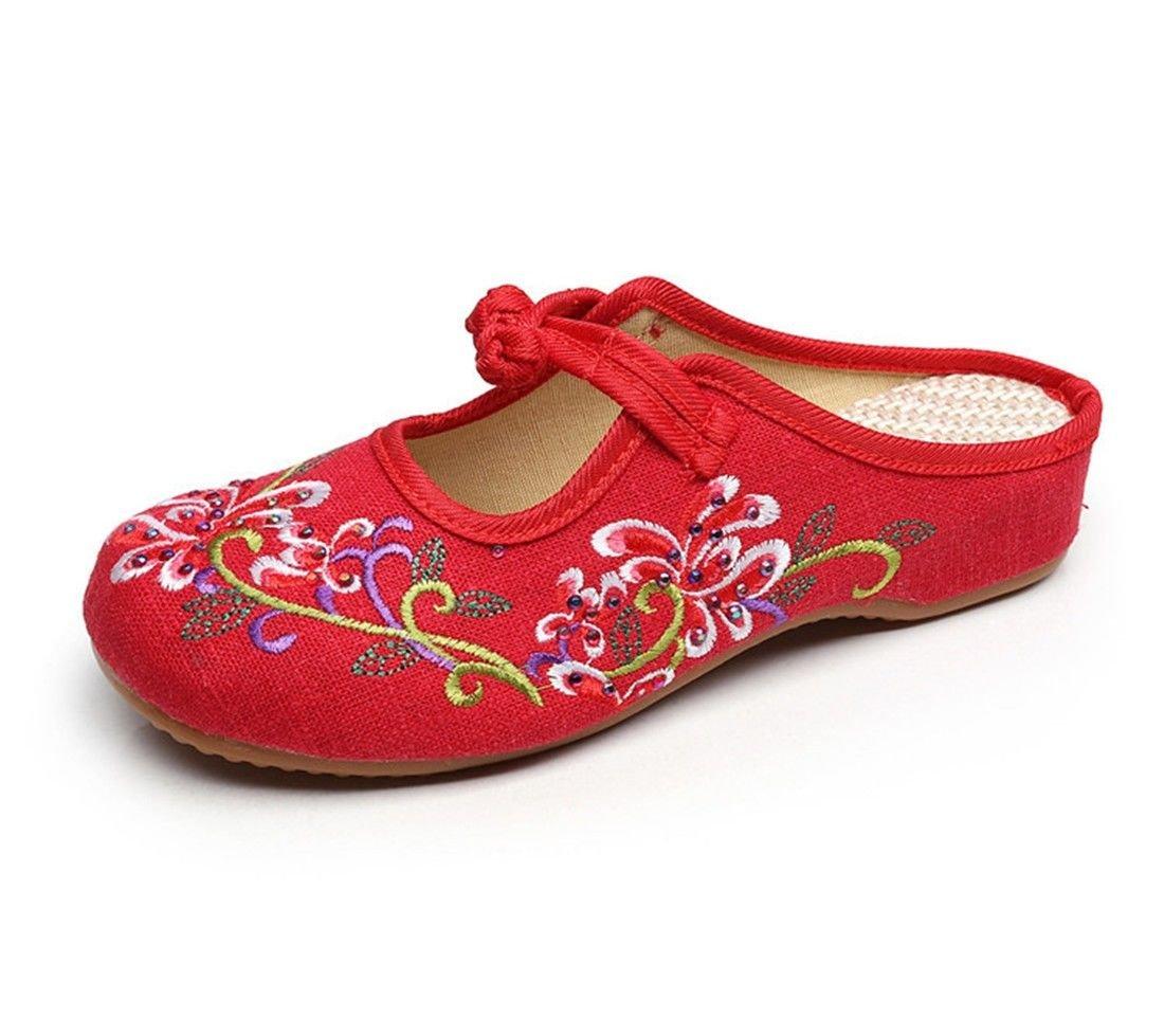 AIKAKA Chaussures pour Femmes Femmes Printemps Été Été Pantoufles Red Petite Pente avec des Chaussures en Tissu Red 2e772b6 - robotanarchy.space