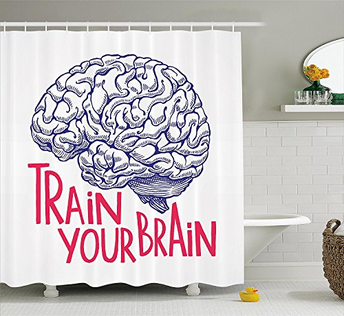 [Vintage Decor Shower Curtain Positive Quote on Curvy Human Brain Intelligence Head Skull Humor Modern Image Fabric Bathroom Decor Set with Hooks Pink] (Mounted Animal Head Costume)