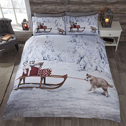 Cute Christmas Polyester Cotton Blend Duvet Cover Bedding Set - Huskies - UK Single