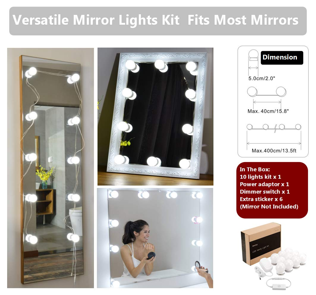 Waneway Hollywood Style LED Vanity Mirror Lights Kit for Makeup Dressing Table Vanity Set Mirrors with Dimmer and Power Supply Plug in Lighting Fixture Strip, 13.5ft, Mirror Not Included by Waneway (Image #4)