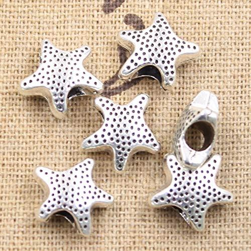 (Calvas 6pcs 13712mm Starfish Star 4.5mm Big Hole Bead Antique Silver Beads Charms Fits DIY Charms Bracelet Jewelry Beads)