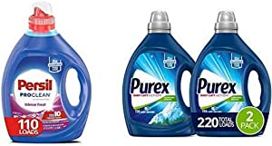 Persil Liquid Laundry Detergent, ProClean Intense Fresh, 2X Concentrated, 110 Loads AND Purex Liquid Laundry Detergent, Mountain Breeze, 2X Concentrated, 2Count, 220 Total Loads