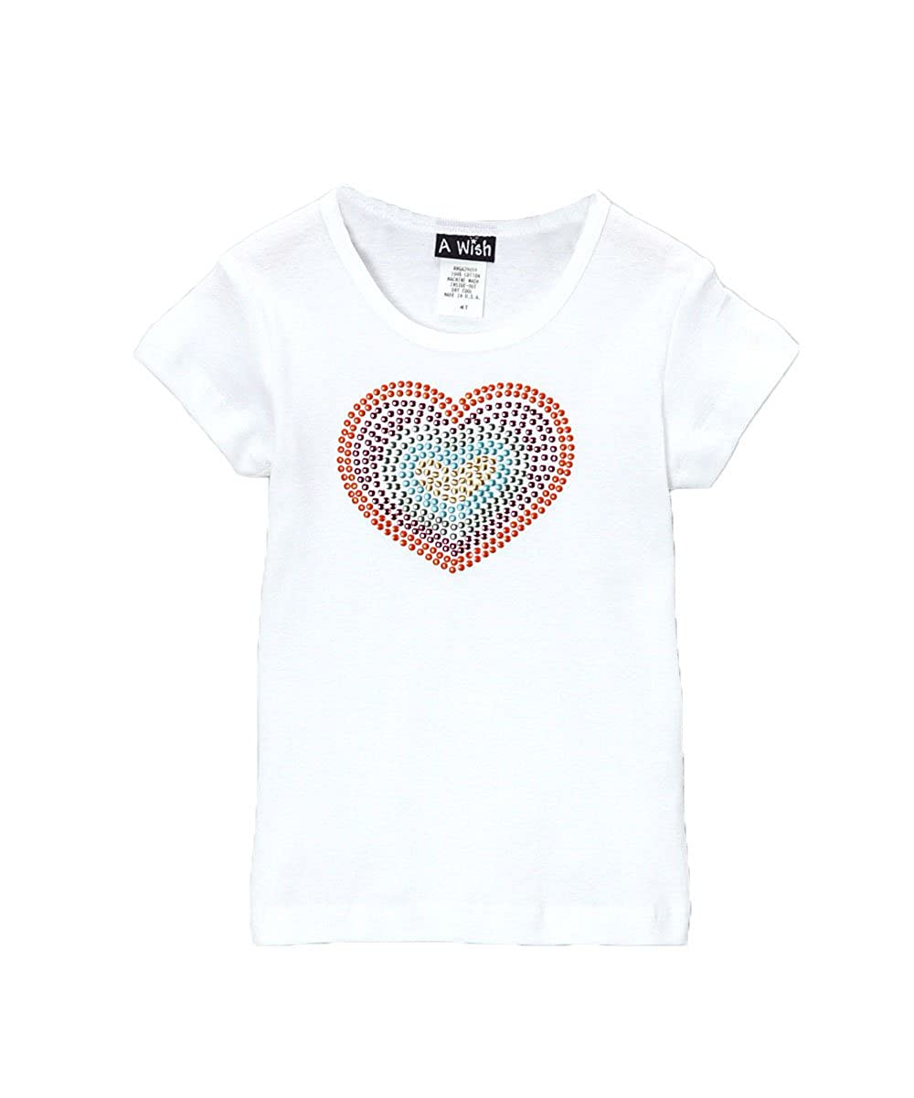 A Wish Girls White Short Sleeve T Shirt With Rainbow Heart Graphic