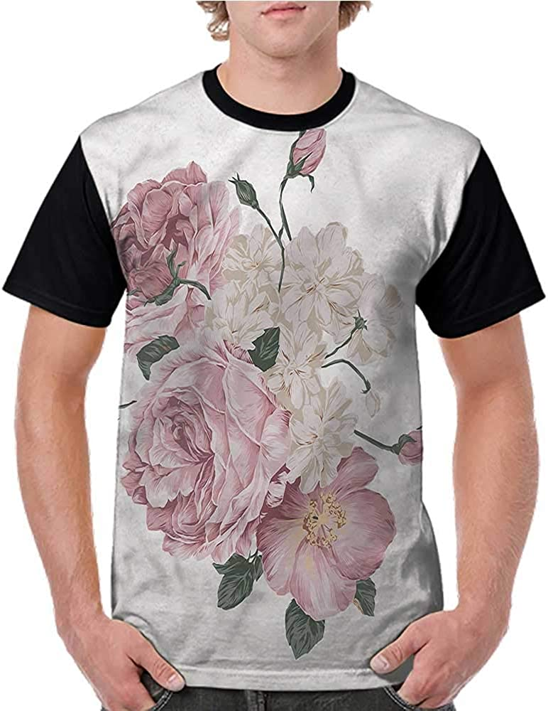 Printed Short Sleeves,Rose,Old Fashioned Flowers Piano S-XXL Baseball T-Shirt Tee Tops