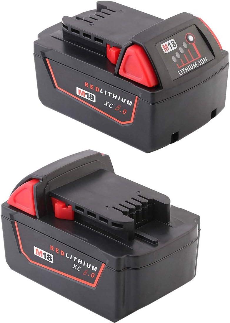 Rojo 18.00V FengBP/® 18 V, 5000 mAh Bater/ía de repuesto para Milwaukee M18 48-11-1828 48-11-1840 C18B M18BX Li18 M18B4 M18 XC Milwaukee tool M18