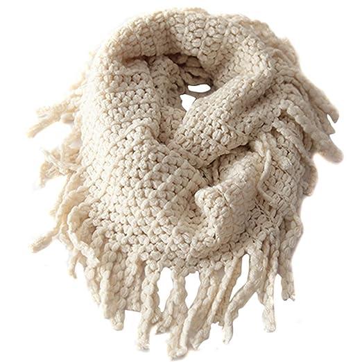 EUBUY Fashionable Autumn Winter Kids Toddler Knit Warmer Tassels Neck Scarf Circle Loop Round Scarves Shawl(Beige)