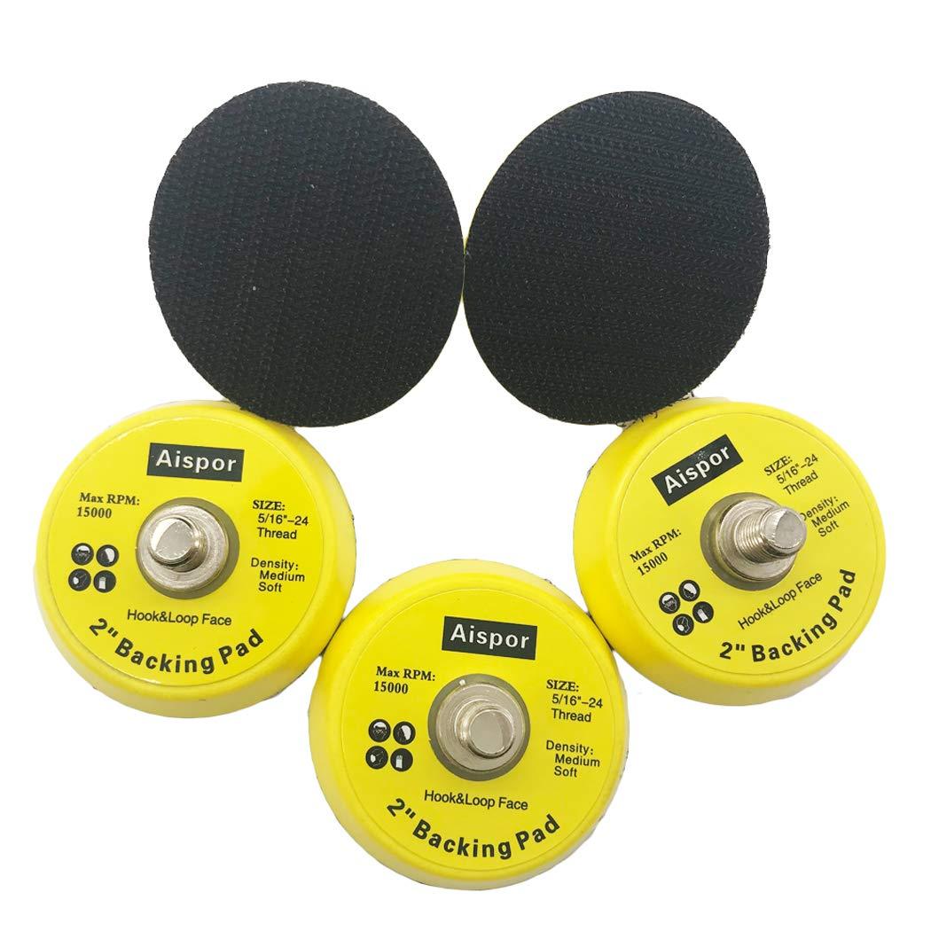 Aispor 5PCS 2 Inch DA Polisher /& Sander Pad Hook /& Loop Random Orbital Backing Plate M6 Thread