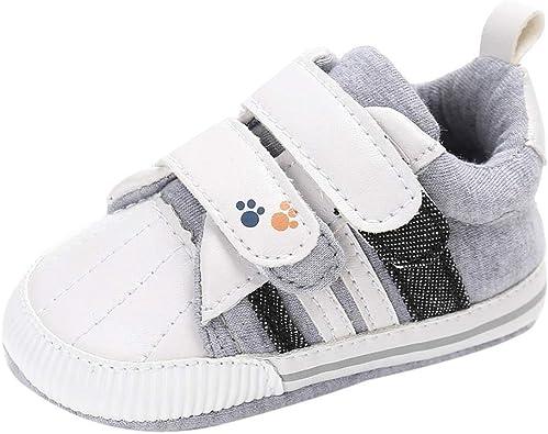 PinkLu Velcro Zapatos de Algodon Bebé recién Nacido Niñas bebés niños Zapatos de Cuna Suela Blanda Antideslizante ...