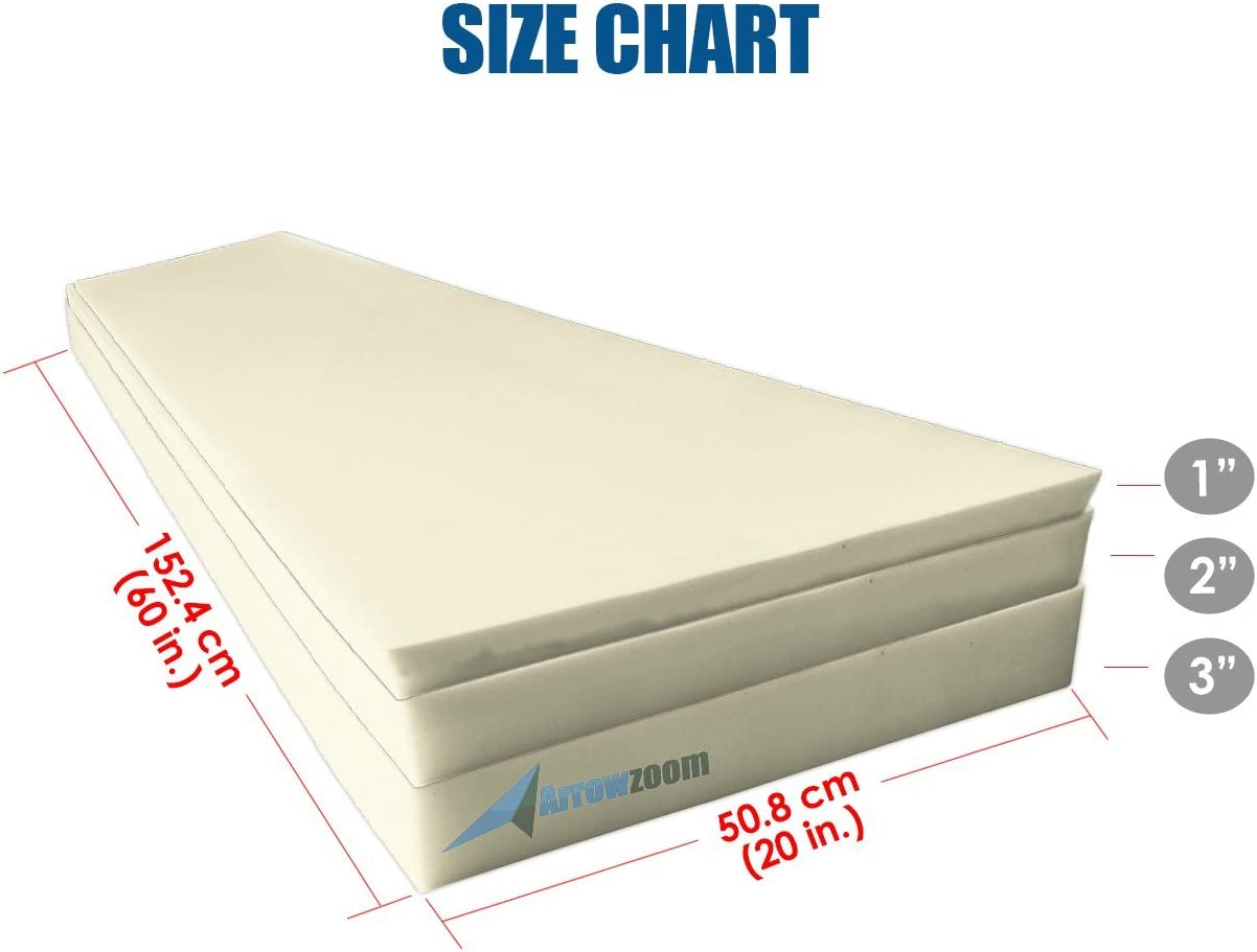 Arrowzoom New 1 Piece//Roll of 20 X 60 X 1 Inches//50.8 X 152.4 X 2.5 cm High Density Firm Upholstery Foam Cushion Sheet Padding AZ1137