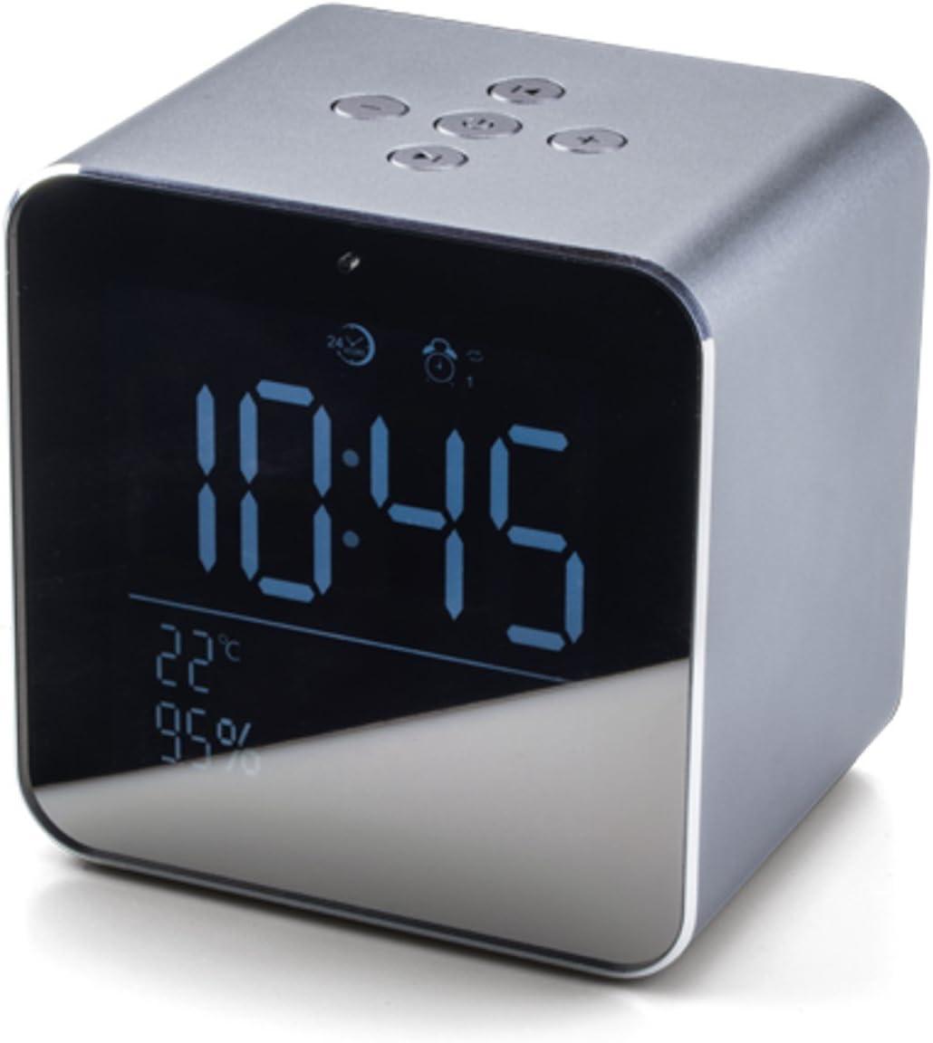 DBT-305G Altavoz Bluetooth con Reloj - Color Gris Metalizado