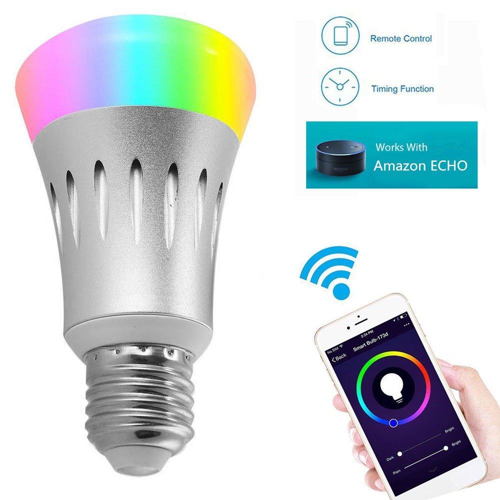 AIJING LED RGBW Lampe mit Fernbedienung, mit  Alexa(Echo, Echo Dot),Google Home E27 Dimmbare Birne mit RGB und Kaltweißem Licht, RGB + Weiß Echo Dot),Google Home E27 Dimmbare Birne mit RGB und Kaltweißem Licht