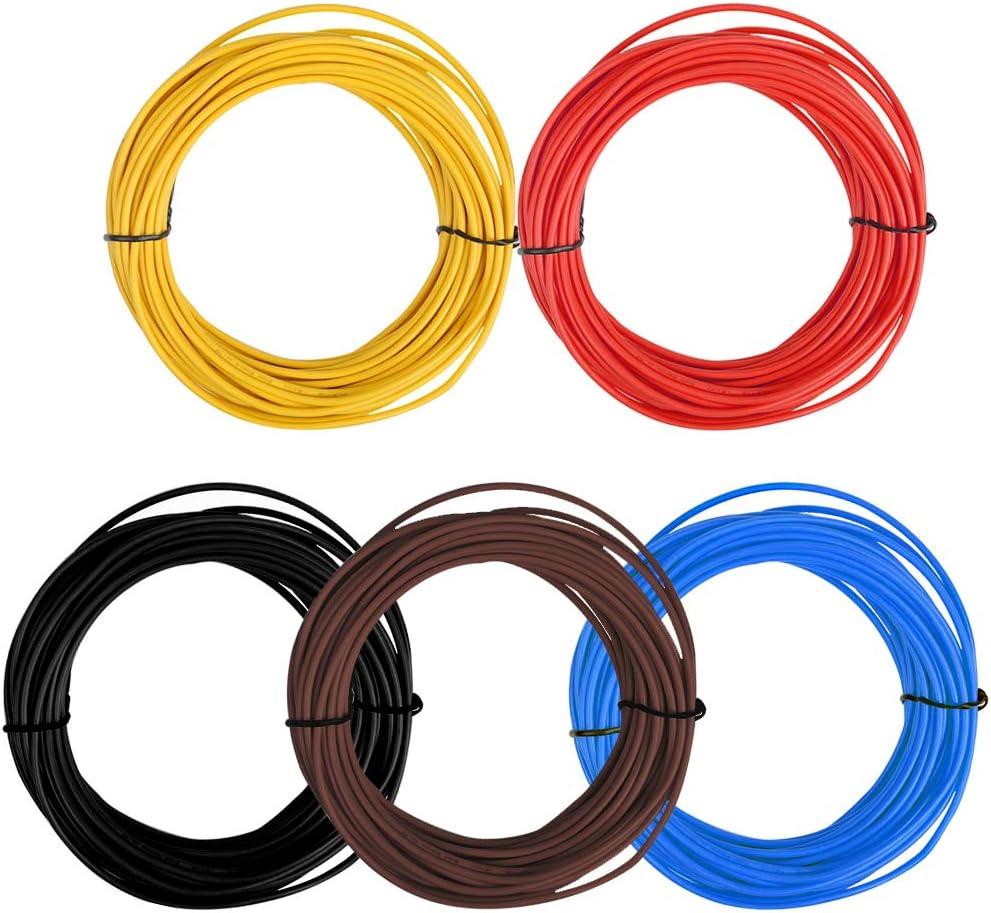 TIMESETL 5 Pezzi 1,5 mm/² FLRY-B Cavo Elettrico 5 x 10 M Cavo Veicolo Elettrico