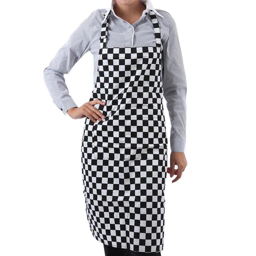 TRIXES Grembiule Professionale da Chef a Scacchi Regolabile a Tutta Lunghezza.