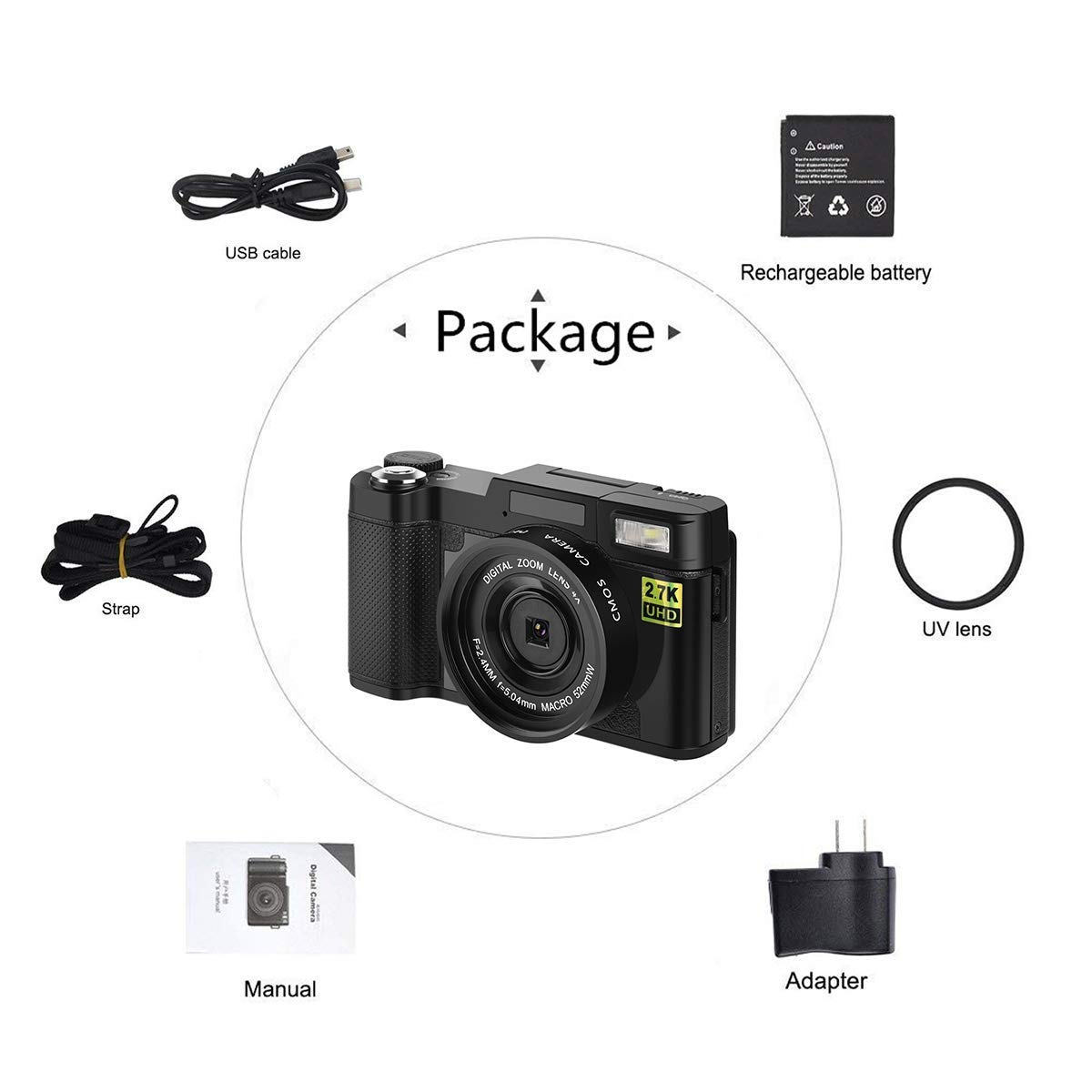 Digital Vlogging Camera 24MP Ultra HD 2 7K WiFi 3 0