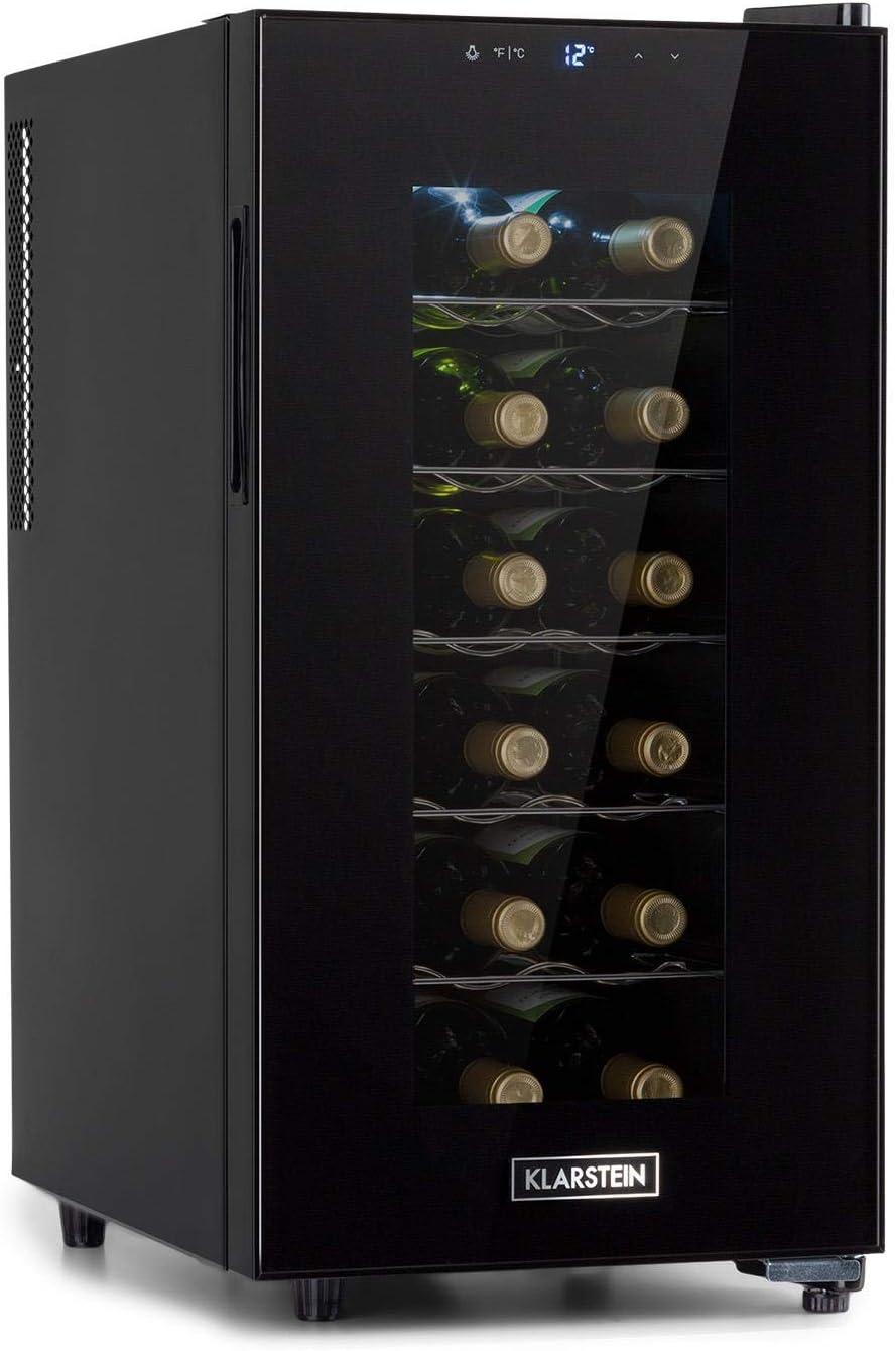 Klarstein Bellevin Uno nevera para vinos, temperatura: 11-18 °C, ruido: 26 dB, 5 baldas metálicas, luces LED, protección UV, nevera independiente para encimera, 52 litros / 18 botellas, negro