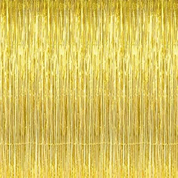 YOHO BUY Foil Fringe Curtains Photo Backdrop,Shiny Metallic Tinsel Party Door Curtain Photo Booth Props for Birthday Wedding Bridal Baby Shower Party ...