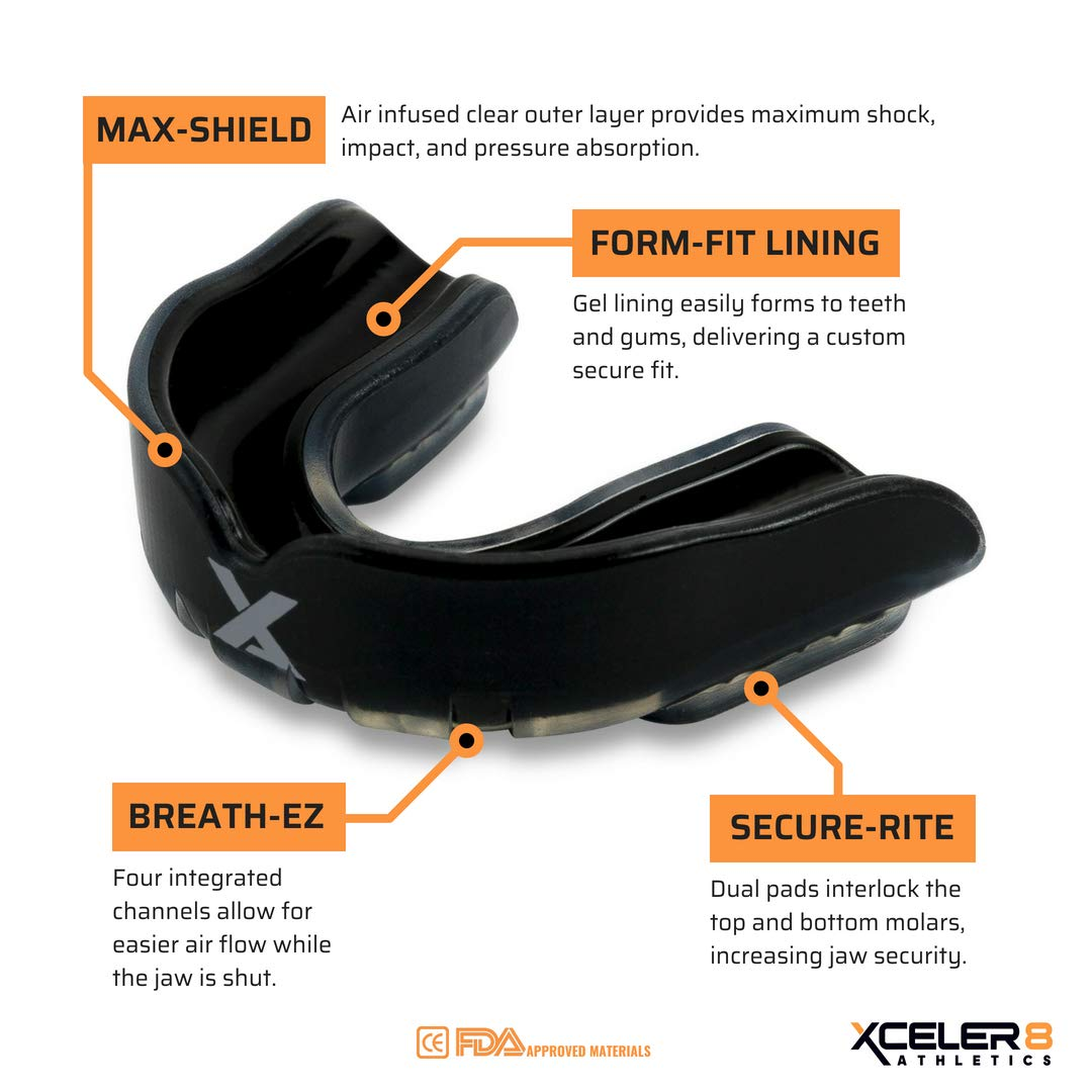 Custom Fit with Vented Case Chew Resistant Protection for All Kids Sports XCELER8 Athletics Youth Mouth Guard