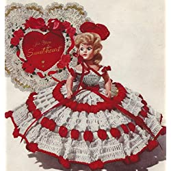 Vintage Crochet PATTERN to make - 8 inch Doll Clothes Dress Queen Hearts Valentine. NOT a finished item. This is a pattern and/or instructions to make the item only.