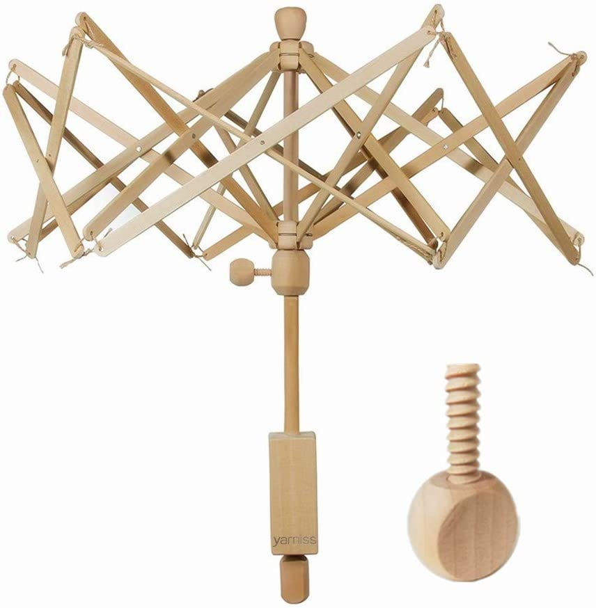 Best Warranty: Yarn Swift, Wooden Umbrella Swift Yarn Winder with Replacement Screw, Wood Swift Yarn Holder