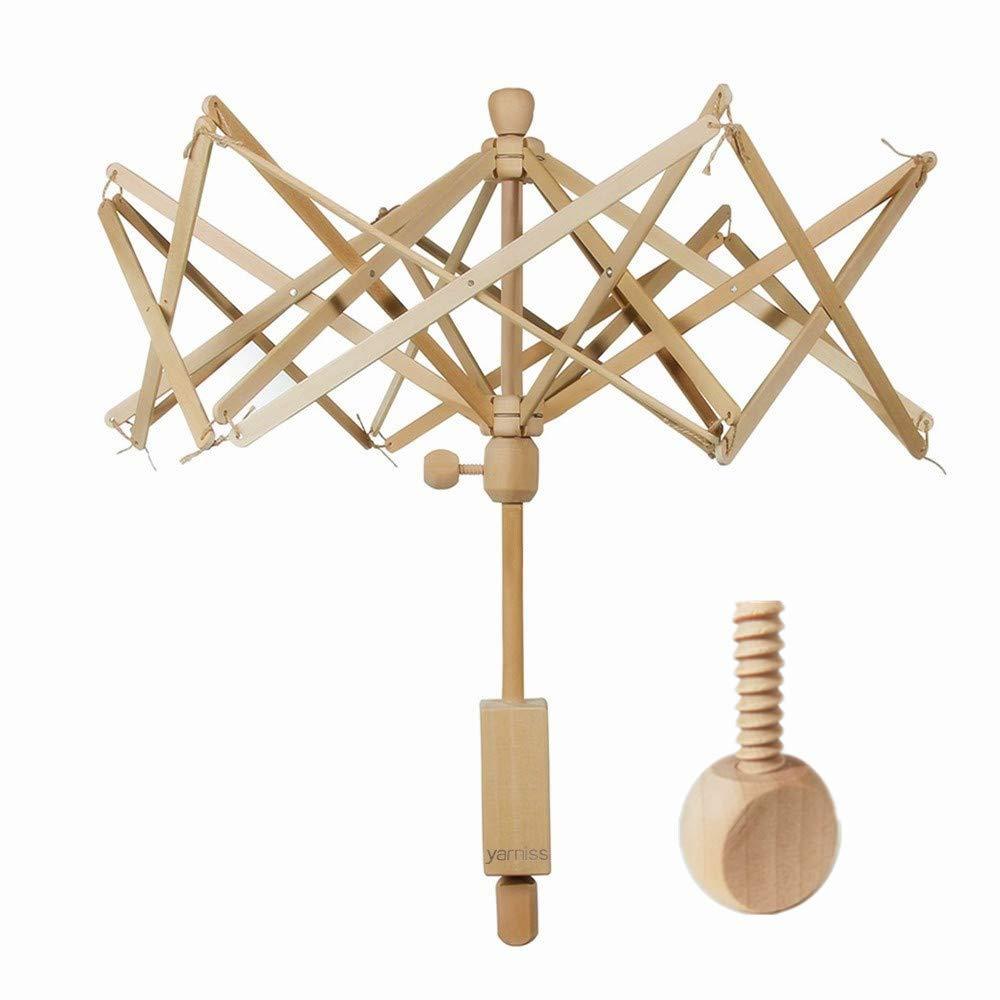 Yarn Swift,Wooden Umbrella Swift Yarn Winder with Replacement Screw,Wood Swift Yarn Holder,Medium by Yarniss