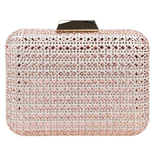 Bonjanvye Bling Crystal Rhinestone Clutches for Women Evening Clutch Bag Wedding Party Rose Gold
