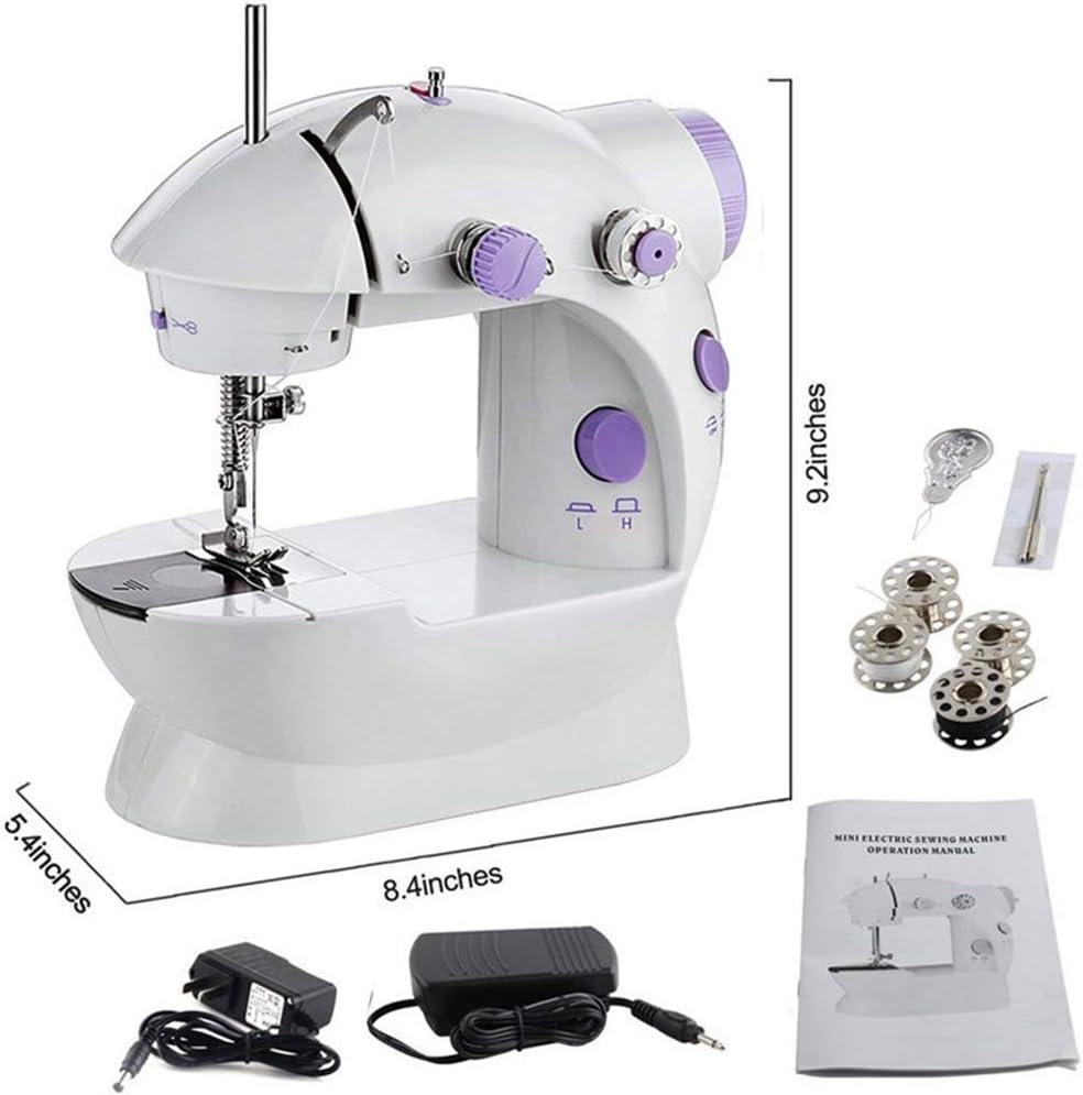 Mini Máquina de coser, Portátil Multifunción Principiante Mano Eléctrica Ajuste de Velocidad Doble con Luz Pie con Luces y Pedal de Corte Sewing Machine para Viaje Uso en el hogar-Ropa: Amazon.es: Hogar
