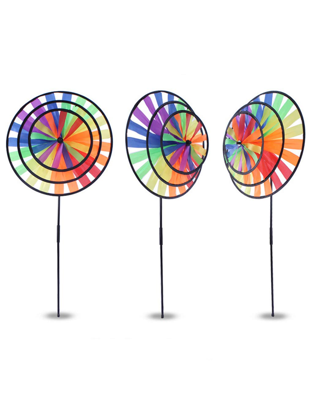 BrilliantDay 3 PCS Large Rainbow Windmill Wind Spinner Colourful Lawn Yard Garden Outdoor Decoration, 36CM Diametre