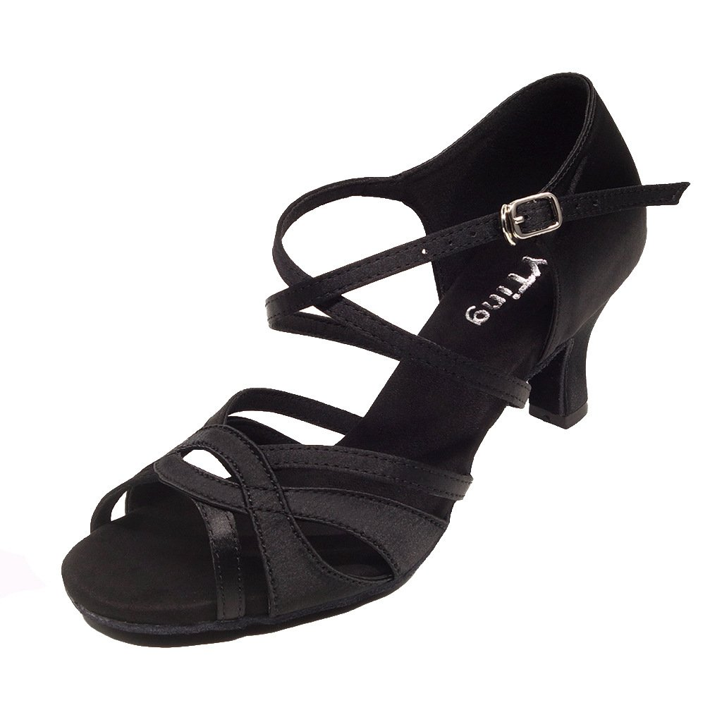 YYTing Women Ballroom Dance Shoes Latin Salsa Bachata Performance Dancing Shoes(6.5, Black) by YYTing