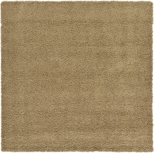 (Unique Loom Solo Solid Shag Collection Modern Plush Sandy Brown Square Rug (8' 2 x 8' 2))