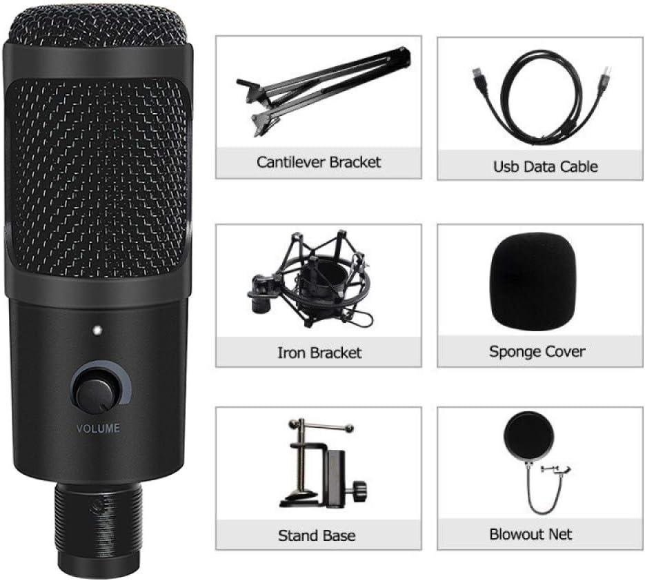 ABMBERTK , Micrófono, micrófono de grabación de Condensador, con Soporte para computadora portátil Mac, PC Karaoke Streaming Twitch, podcasting de Voz, D80,8