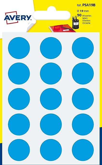 Avery España PSA19B - Pack de 90 gomets, color azul: Amazon.es: Oficina y papelería