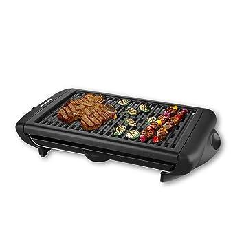 Excelvan KYS-868 Parrilla Barbacoa Portatil Electrica BBQ (1400W, Antiadherente, Cocción 38 x 26cm, Extraíble, Grill Placa para Interior), Negro