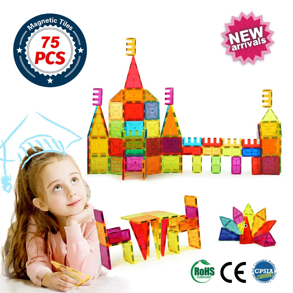 Brighton Educational Kids Toys Magnetic Building Blocks,3D Magnetic Blocks Building Set, Imaginative Toys Magnetic Tiles for Children 75pcs by BrightOn