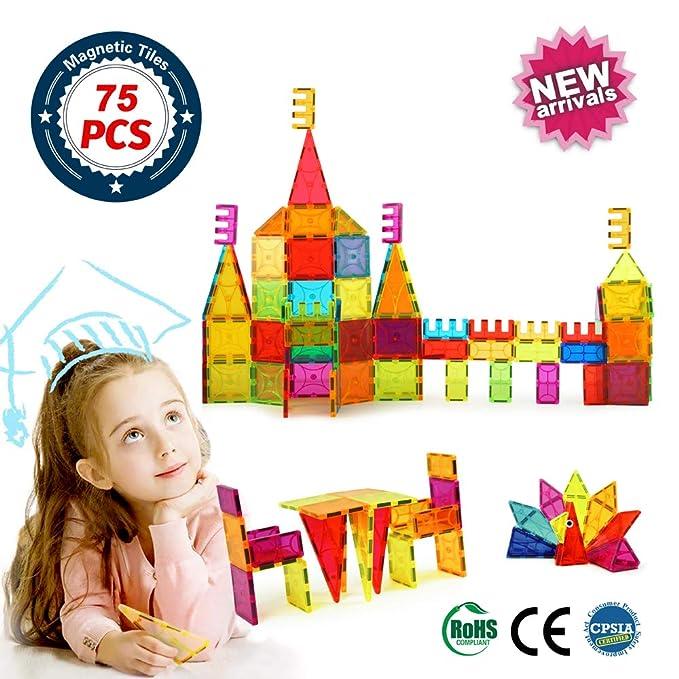 Brighton Educational Kids Toys Magnetic Building Blocks,3D Magnetic Blocks Building Set, Imaginative Toys Magnetic Tiles for Children 75pcs