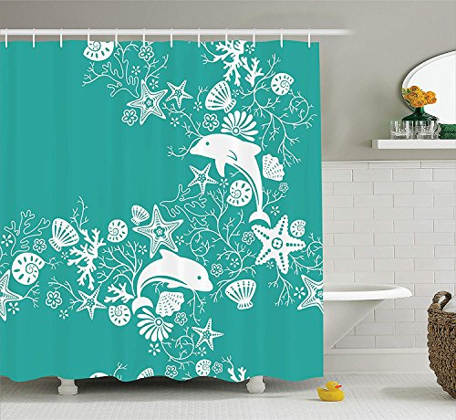 JIMMY MONTGOMERY Sea Animals Shower Curtain, Dolphins Flowers Sea Life Floral Pattern Starfish Coral Seashell Wallpaper, Fabric Bathroom Decor Set with Hooks, 70 Inches, Sea Green White