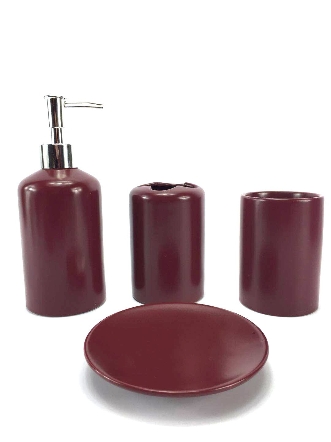 Amazon.com: 22 Piece Bath Accessory Set Burgundy Red Bath Rug Set + ...