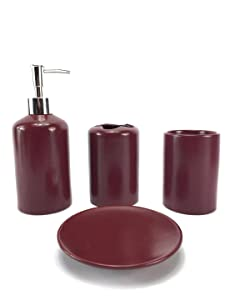 WPM 4 Piece Ceramic Bath Accessory Set | Includes Bathroom Designer Soap or Lotion Dispenser w/ Toothbrush Holder, Tumbler, Soap Dish Choose from Purple, Black, Brown, Navy or Burgundy (Burgundy)