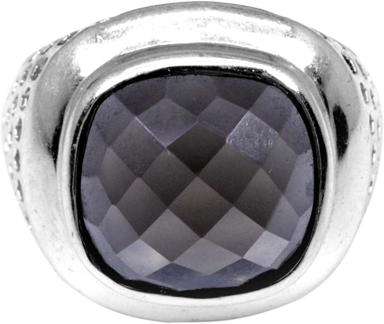 Cuarzo gris en anillo de plata masculino