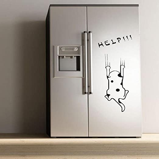 Oksale® Fashion Cartoon Cat Pattern Refrigerator Wall Stickers Papers PVC Removable Kitchen Cabinet Showcase Applique Mural Decor Decal