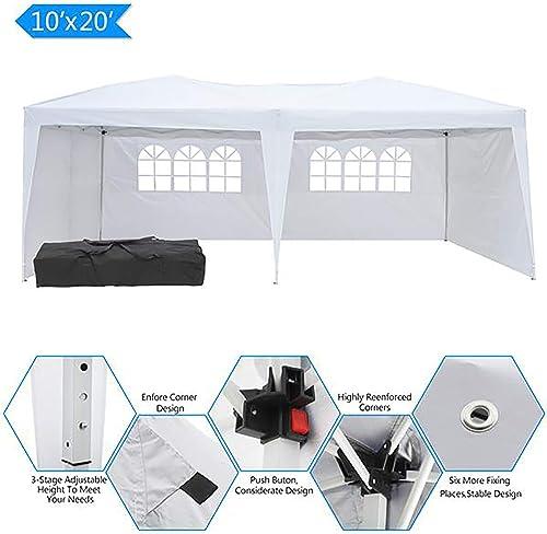 Hopekings 10 x20 Outdoor Gazebo Canopy Adjustable Height Waterproof Wedding Party Tent