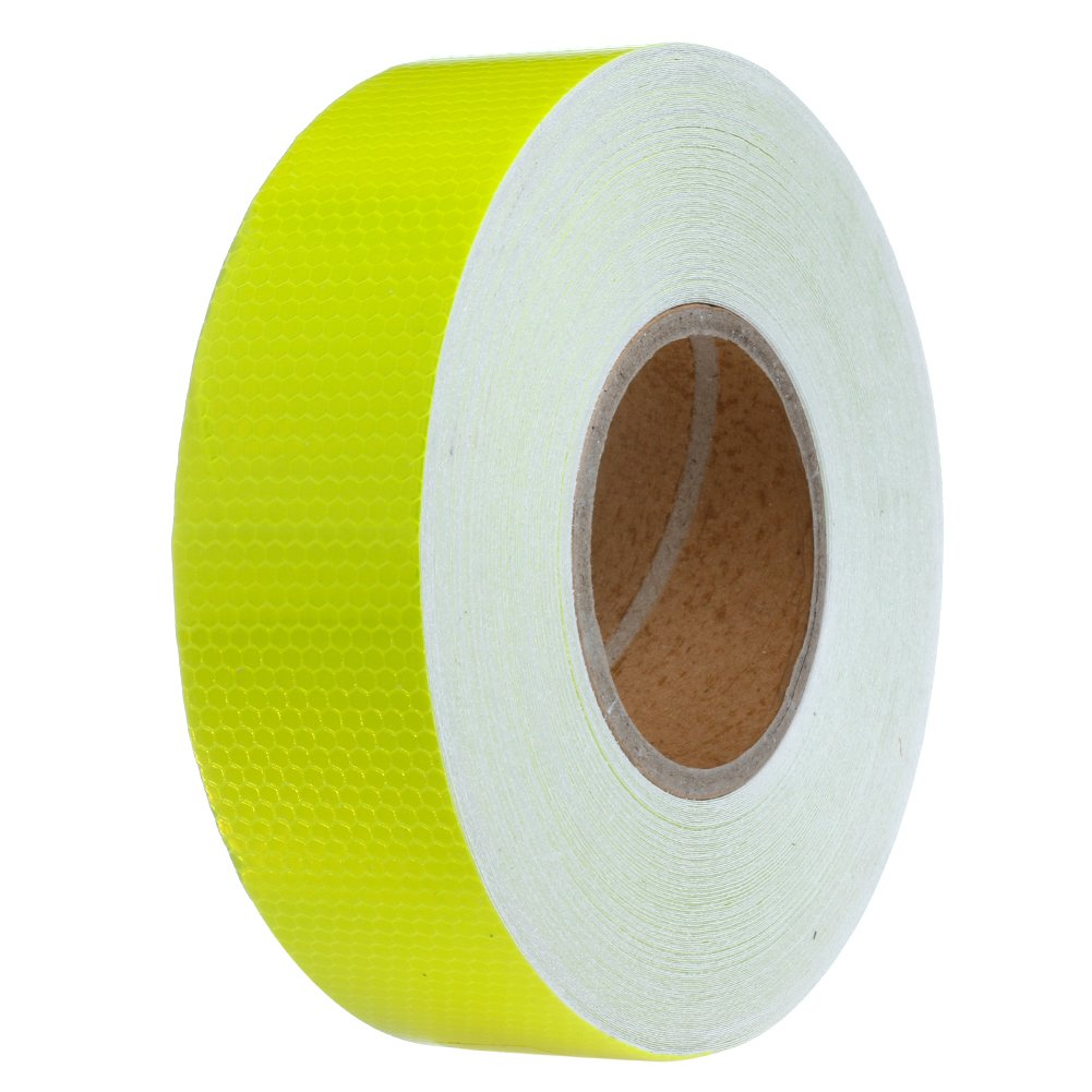Kangnice 50M Safety Caution Reflective Warning Tape Sticker Adhesive Tape 2'' Width (Yellow)