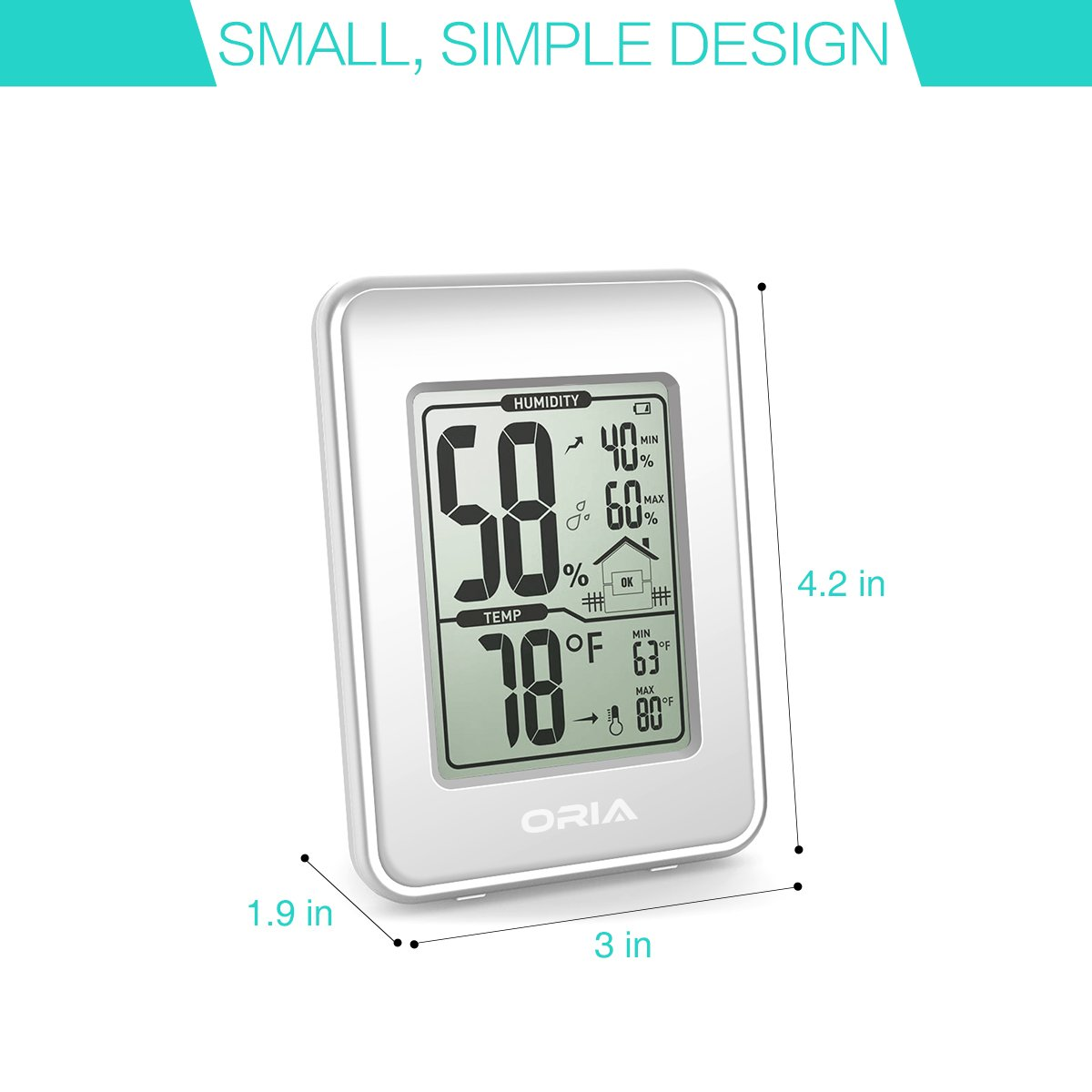 ORIA Digital Termómetro, gran LCD Interior higrómetro termómetro higrómetro de térmica, Medidor de temperatura termómetro Monitor con min/max grabaciones, ...