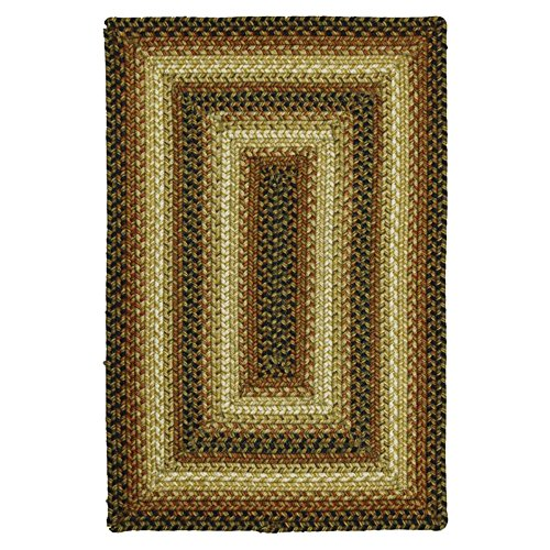 Concentric Rectangle Green Rug - Homespice Decor San Antonio Braided Rug