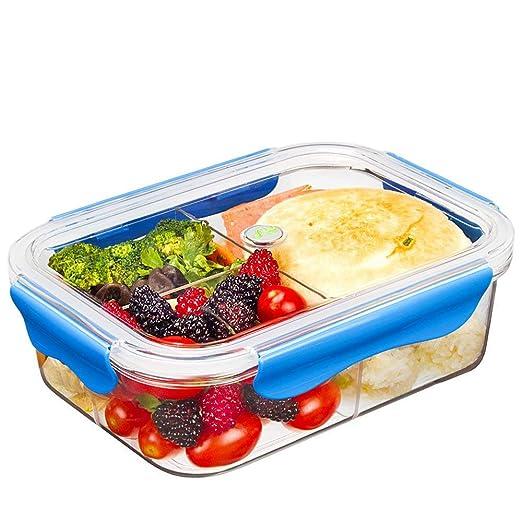 Tritan Plastico Contenedor Alimentos Hermetico, Recipientes Comida Microondas, Fiambreras Bento con 3-compartimentos, tapers para comida almuerzo, ...
