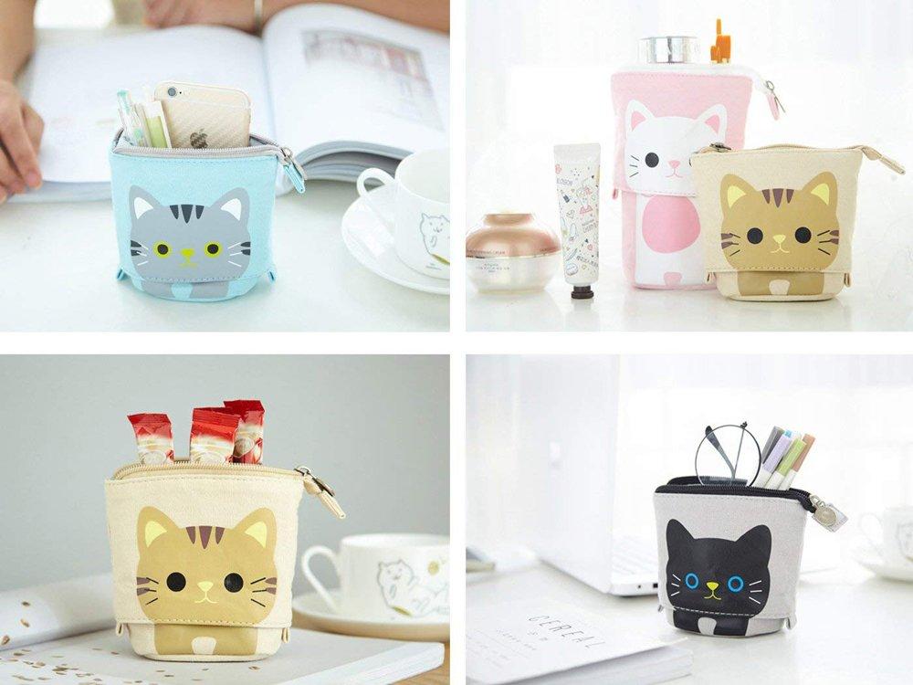 Transformer Stand Store Pencil Holder Canvas+PU Cartoon Cute Cat Telescopic Pencil Pouch Bag Stationery Pen Case Box with Zipper Closure 7.5 x 4.9 x 3.0inch/4.1x 3.0inch (Khaki) by Vivin